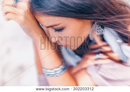 Beautiful Young Boho Style Woman Close Up Portrait Outdoors