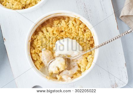 Apple Crumble With Ice Cream, Streusel. Morning Breakfast On Light Gray Table. Top View, Close Up