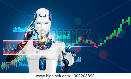 poster of Robot trading on stock market. Artificial intelligence of forex broker with analyzing business charts with investment financial data. Computer software of trade on stock exchange. Cyborg trader.
