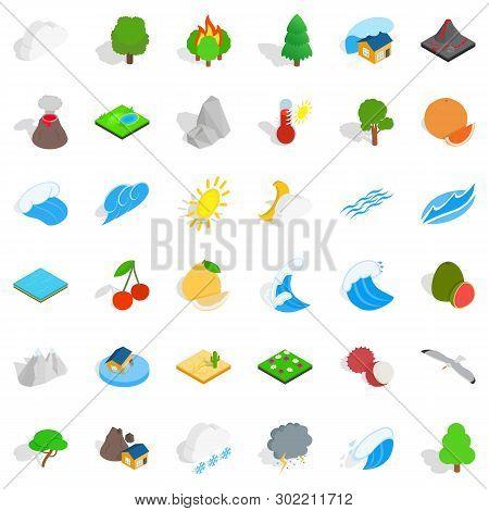 Afforestation Icons Set. Isometric Set Of 36 Afforestation Icons For Web Isolated On White Backgroun