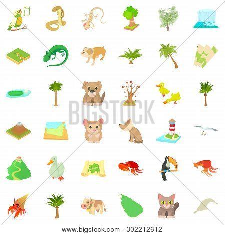 Foliage Icons Set. Cartoon Set Of 36 Foliage Icons For Web Isolated On White Background