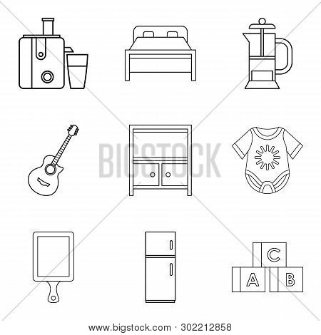 Domicile Icons Set. Outline Set Of 9 Domicile Icons For Web Isolated On White Background