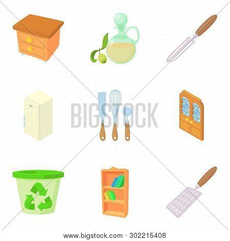 Houseware Icons Set. Cartoon Set Of 9 Houseware Icons For Web Isolated On White Background