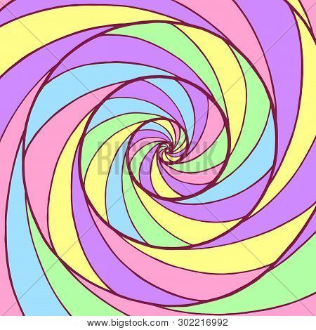 Whirl Spiral Pattern. Colorful Psychedelic Graphic Art. Ornamental Trippy Backdrop. Vector Illustrat