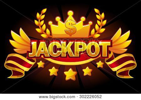Jackpot Banner. Casino Label With Crown And Red Award Ribbon. Casino Jackpot Winner Awards With Gold
