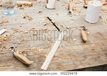 Wooden Workshop. Carving Spoon From Wood, Working With Chisel. Process Of Making Wooden Spoon, Chise