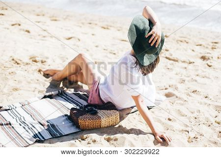 Summer Vacation. Happy Young Boho Woman Relaxing And Enjoying Sunny Warm Day At Ocean. Space For Tex