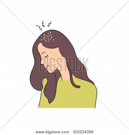 Fungal Skin Diseases, Dermatology. Dandruff Problem On The Head. The Girl Is Sad Because Of A Chroni
