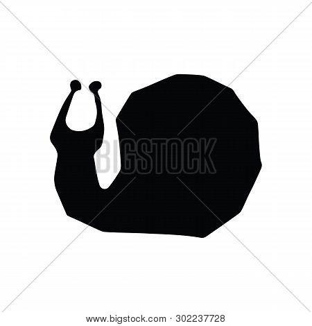 Cute Monochrome Garden Snail Silhouette Cartoon Vector Illustration Motif Set. Hand Drawn Slimy Gast