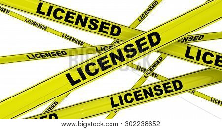 Licensed. Yellow Warning Tapes With Black Words Licensed. Isolated. 3d Illustration