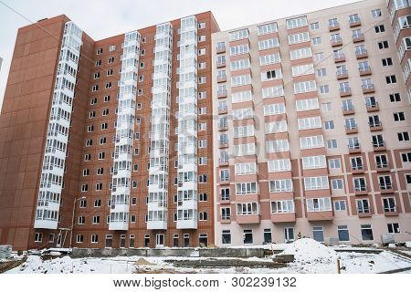 Newly Built Modern Apartment Building In Winter
