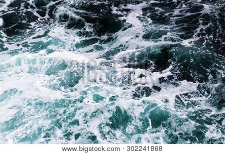 Seething Atlantic Blue Sea Water With Foam