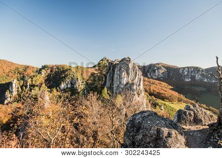 Autumn Sulovske Skaly Mountains From Sulovsky Hrad Castle Ruins In Slovakia With Rocks, Hills Covere