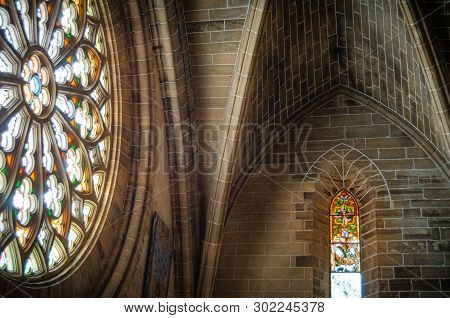 Alcudia, Majorca, Spain - May 13 2011: An Internal View Of The Rose Stained Glass Window Of The Chur
