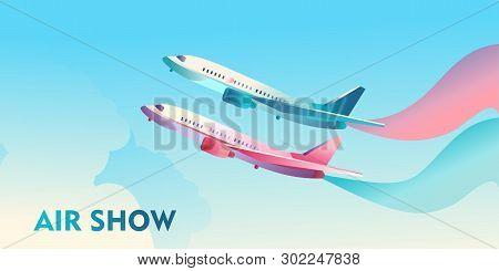 Conceptual Vector Poster Flying Through The Sky, A Plane Smoking Multi-colored Smoke, Airshow, To De