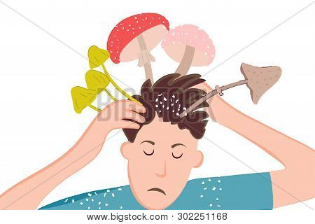 Ironic Poster Of Dandruff Problem On The Head. Mushrooms And Toadstools In The Mind Of A Person Due