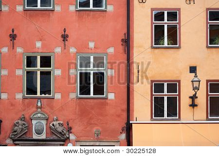 Colorful Red And Yellow Buildings In Stocholm