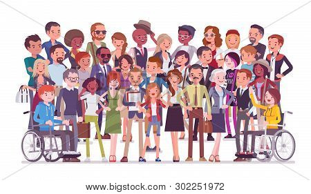 Diverse Group Of People Full Length Portrait. Members Of Different Nations, Various Age, Sex, Health