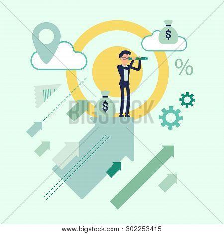 Business Prognosis Symbol. Businessman Watching With Spyglass Future Progress, View Prospective Posi