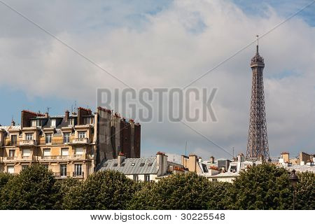 Parisian Buildings And Eiffel Tower