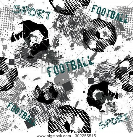 Abstract Seamless Football Pattern For Boys. Sport Football Pattern. Grunge Sport Urban Backdrop Wit