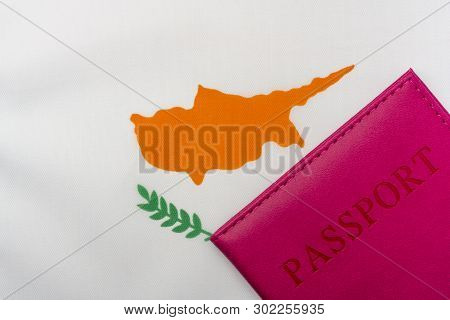 On The Flag Of Cyprus Is A Passport. The Concept Of Travel And Tourism.