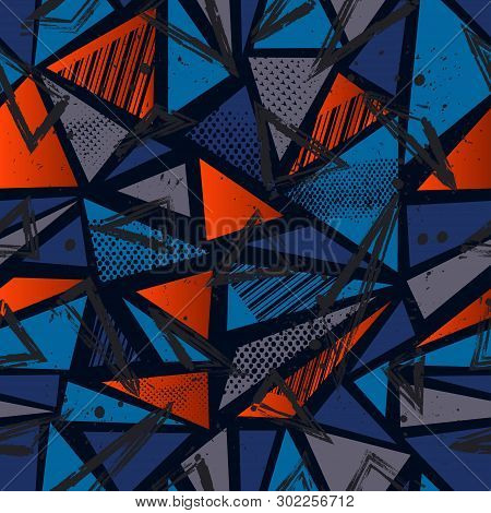 Abstract Seamless Sport Pattern For Girls, Boys, Clothes. Creative Vector Sport Pattern With Dots, G