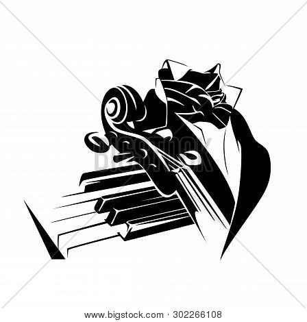 Classical Symphonic Music Performance Concept - Piano Keys, Violin Neck And Elegant Stage Costume Bl