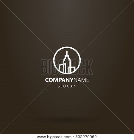 White Logo On A Black Background. Simple Vector Line Art Logo Of Three High-rise Buildings With A Sp
