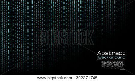 Vector Streaming Blue Binary Code On Black Background. Design For Cover, Poster, Banners, Wallpaper,