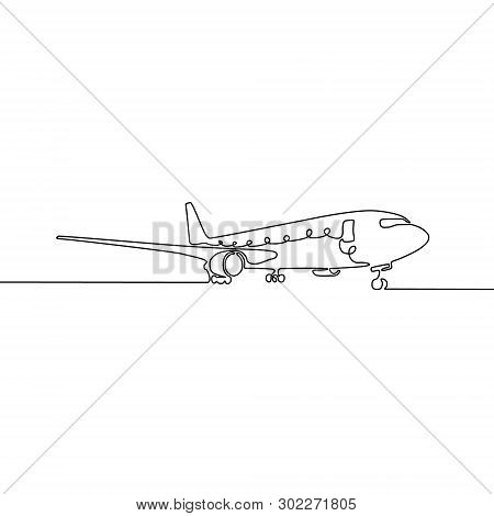 Continuous One Line Drawing Airplane. Vector Illustration.