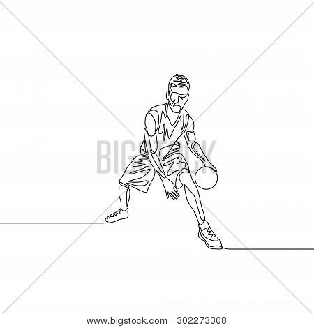 Continuous One Line Basketball Player Dribbling Passes The Ball Between His Legs