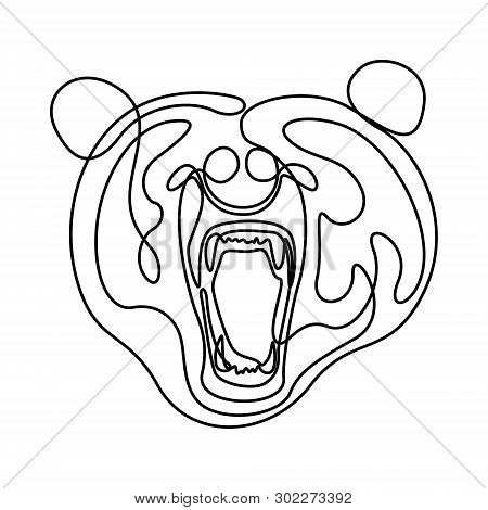 Continuous One Line Fury Bear Head, Snarling Bear. Vector Illustration.