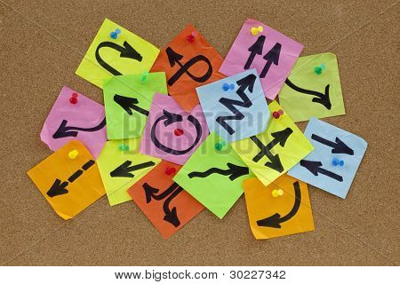 information overload or guidance confusion concept - different arrows on colorful sticky noted posted on cork bulletin board