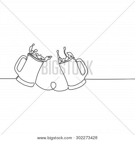 Continuous One Line Beer Glasses With Splashes, Beer Spray. Vector Illustration.