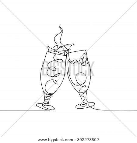 Continuous One Line Two Clinking Glasses Of Beer Creating Splash. Vector Illustration.