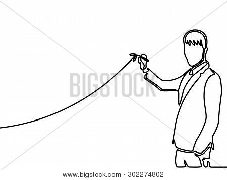 Continuous Line Businessman Drawing Rising Diagram.  Vector Illustration.