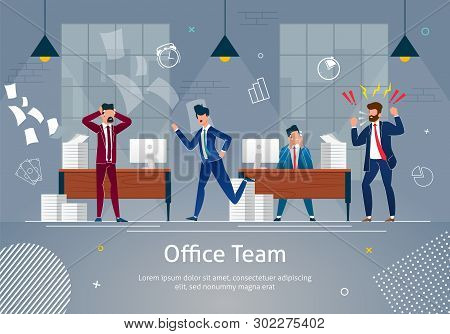 Chaos At Workplace. Office Team In Panic. Angry And Annoyed Businessmen At Work Office Banner. Stres