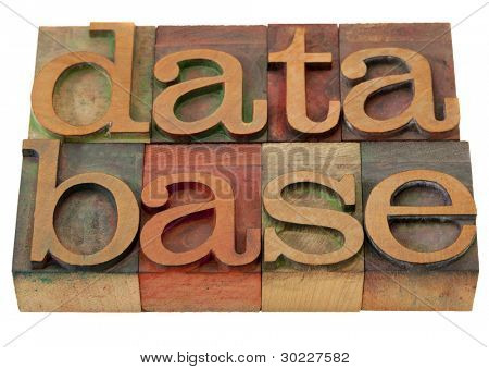 database word in vintage wooden letterpress printing blocks, stained by color inks, isolated on white