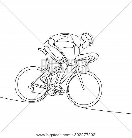 Continuous Line Cyclist In Helmet Riding A Bicycle Down The Slope