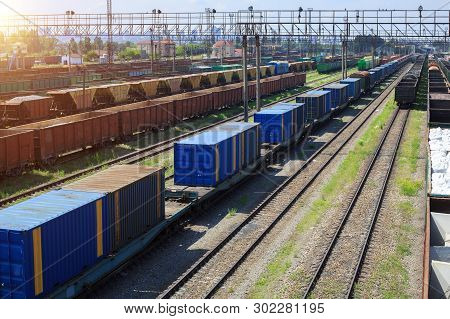 Freight Trains On City Cargo Terminal. Railways In Train Parking. Arain Arrived At The Station. Carg