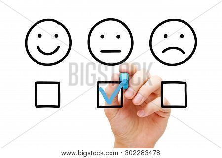 Client Leaving Average Rating With Blue Marker On Customer Feedback Evaluation Form. Drawn Faces Sur