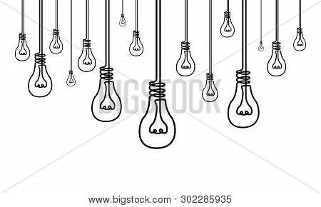 Continuous One Line A Lot Of Light Bulbs, Many Ideas, Creativity Concept
