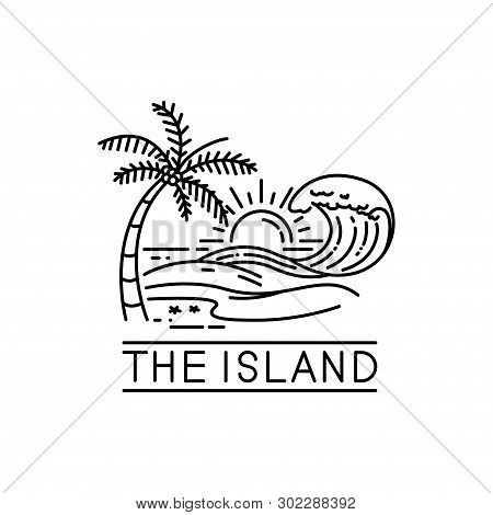 beach waves on tropical islands, line art style design. island icon isolated on white background from miscellaneous collection. island icon trendy and modern island symbol for logo, web, app, UI. island icon simple sign. island icon flat vector illustrati