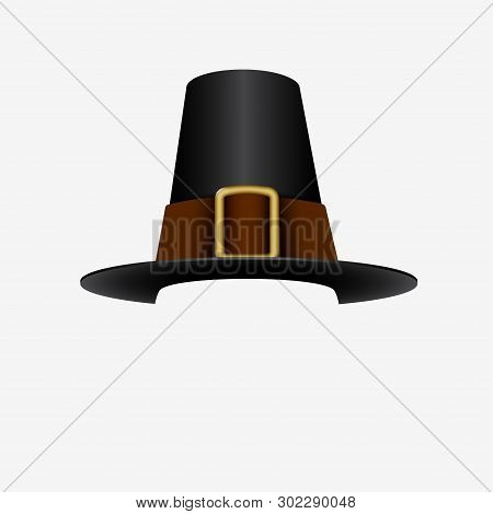 Pilgrim Hat - Thanksgiving Accessory - Vector Illustration Isolated On White - Vector