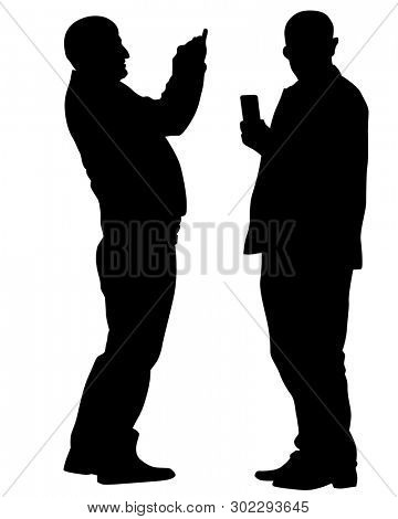 Man with phone on white background