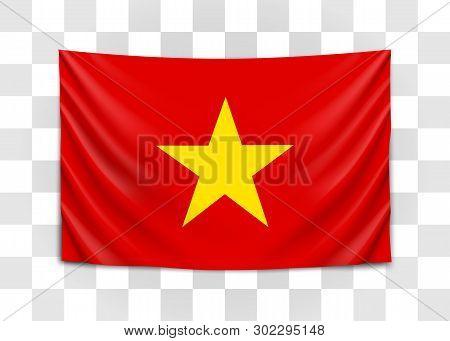 Hanging Flag Of Vietnam. Socialist Republic Of Vietnam. National Flag Concept.
