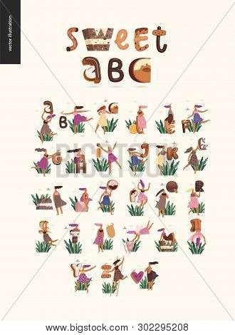 Dessert Font Abc- Modern Flat Vector Concept Digital Illustration Of Temptation Font, Sweet Letterin