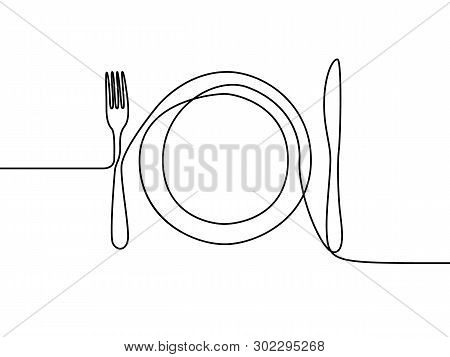 One Continuous Line Plate, Khife And Fork. Vector Illustration.