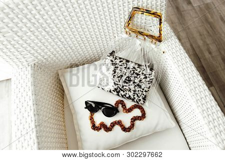 Fashionable Female Accessories: Sunglasses With Chain, Cosmetic Bag With Animal Print And Transparen